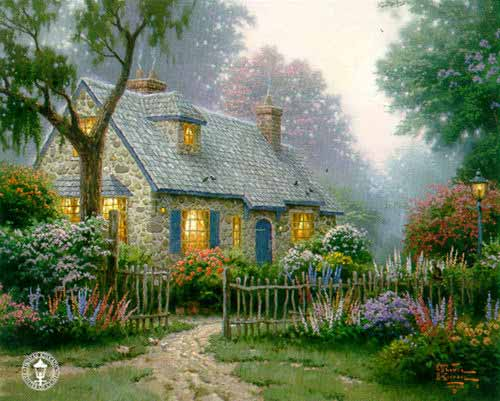 Art by thomas kinkade foxglove cottage - Cottage image ...