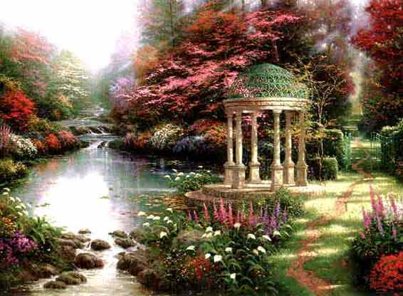 thomas kinkade garden of prayer oil canvas s n large 30 by 40 ebay